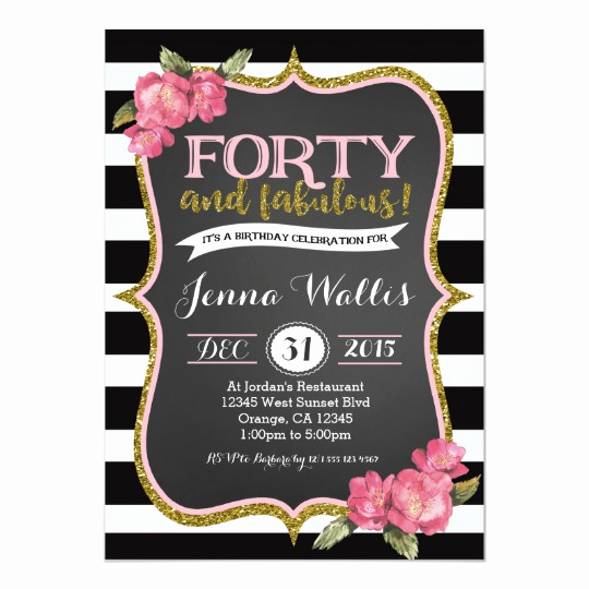 40th Anniversary Invitation Wording Beautiful 40th forty & Fabulous Birthday Invitation