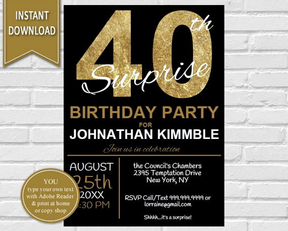 40th Anniversary Invitation Wording Beautiful 40th Surprise Birthday Invitation 40th Birthday Invite