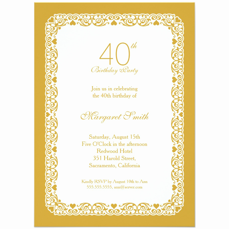 40th Anniversary Invitation Wording Best Of 40th Birthday Party Invitations Wording – Free Printable