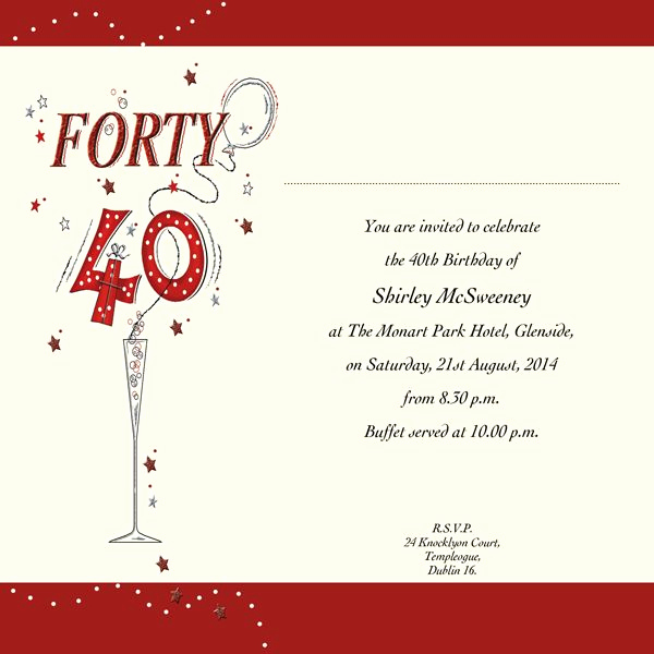 40th Anniversary Invitation Wording Lovely 40th Birthday Invitation Wording New Invitations