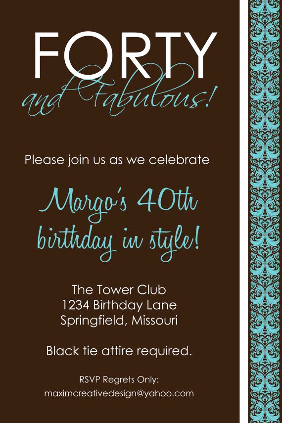 40th Anniversary Invitation Wording Luxury Diy Printable Invitation Birthday Party Birthday