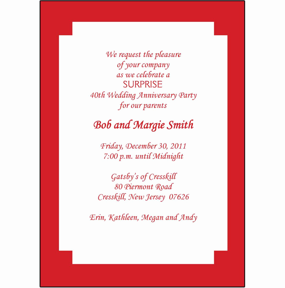 40th Anniversary Invitation Wording New 40th Anniversary Invites 40th Anniversary Invitations In