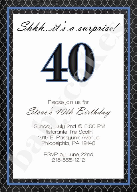 40th Anniversary Invitation Wording New Adult Male Birthday Invitation 40th Birthday by