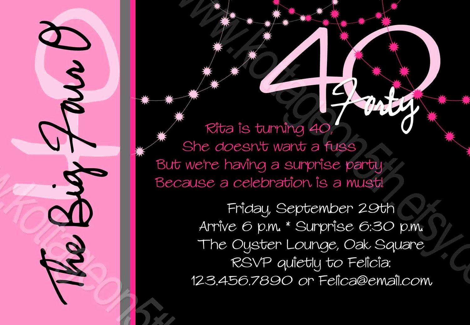 40th Birthday Invitation Ideas Best Of 40th Birthday Invitations for Her