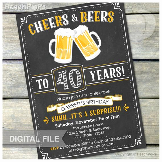 40th Birthday Invitation Ideas Best Of Surprise 40th Birthday Invitation Cheers & Beers Invite