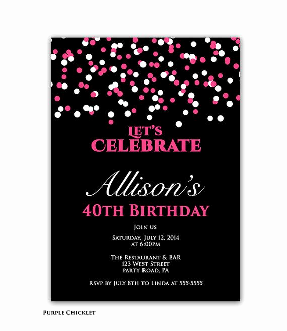 40th Birthday Invitation Ideas Elegant Confetti Birthday Party Invitation Pink and Black 40th
