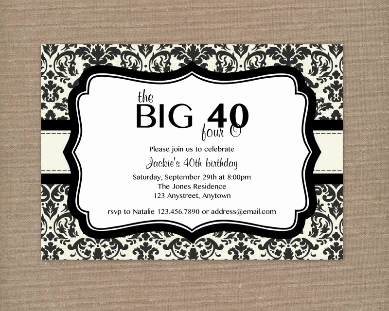 40th Birthday Invitation Ideas Inspirational 8 40th Birthday Invitations Ideas and themes – Sample