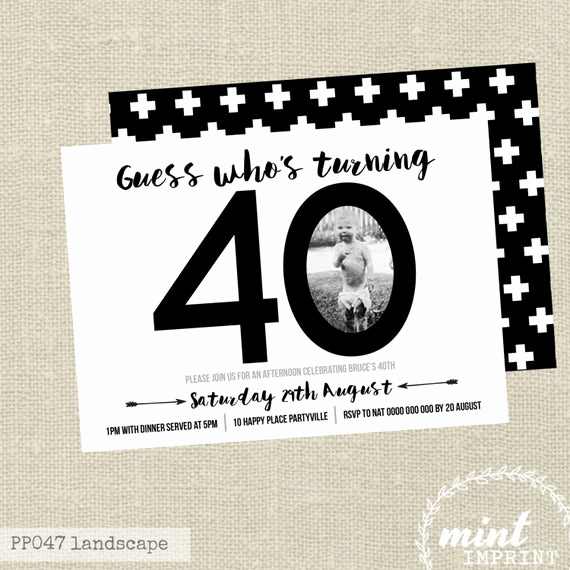 40th Birthday Invitation Ideas Lovely 40th Birthday Invitation Black and White Invite by