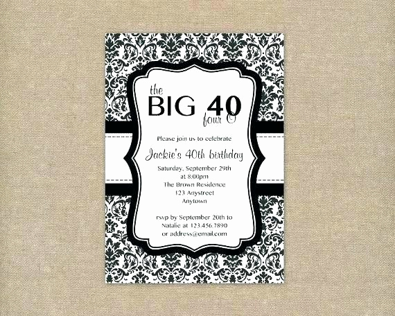 40th Birthday Invitation Ideas Luxury 40th Birthday Invitation Ideas