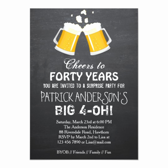 40th Birthday Invitation Ideas Unique 40th Birthday Invitation Beer 40th Birthday