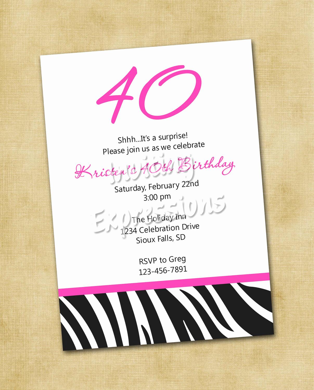 40th Birthday Invitation Wording Beautiful 40th Birthday Ideas Birthday Invitation Templates 40th