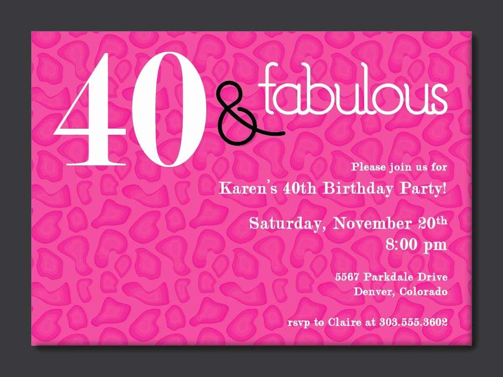 40th Birthday Invitation Wording Elegant 40th Birthday Free Printable Invitation Template