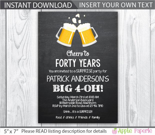 40th Birthday Invitation Wording Elegant 40th Birthday Invitation 40th Birthday Invitation for Men