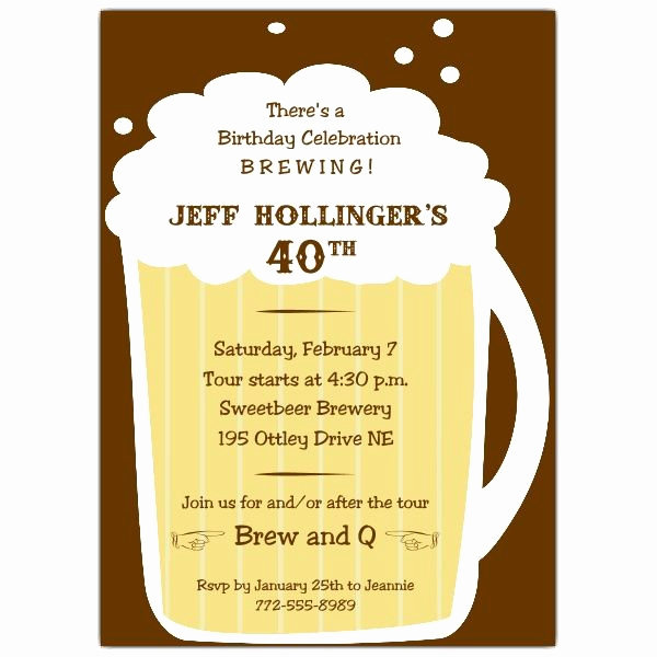 40th Birthday Invitation Wording Elegant Beer Mug Birthday Invitations 60th Birthday Party