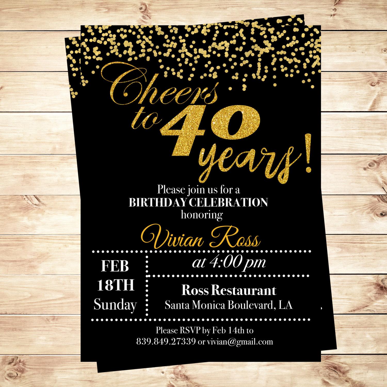 40th Birthday Invitation Wording Elegant Cheers to 40 Years Birthday Printable Invitation 40th