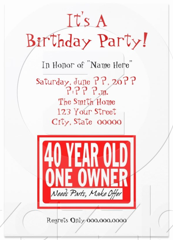 40th Birthday Invitation Wording Funny Elegant 7 Funny Invitation Card Designs