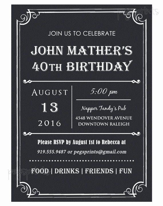 40th Birthday Invitation Wording Lovely 40th Birthday Invitation for Men Printable Milestone