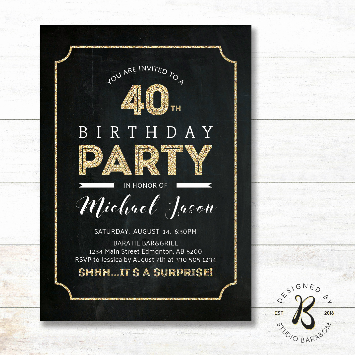 40th Birthday Invitation Wording Lovely Surprise 40th Birthday Invitation Adult Birthday Invitations