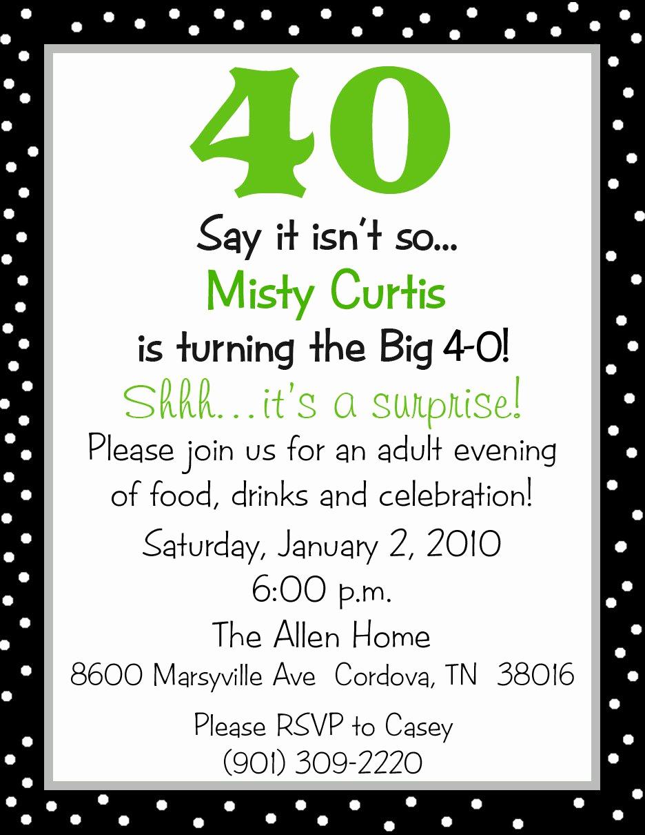 40th Birthday Invitation Wording Lovely Surprise 40th Birthday Party Invitation Wording