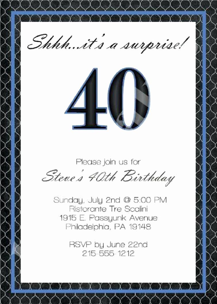 40th Birthday Invitation Wording Luxury 40th Birthday Invitation Wording for Men
