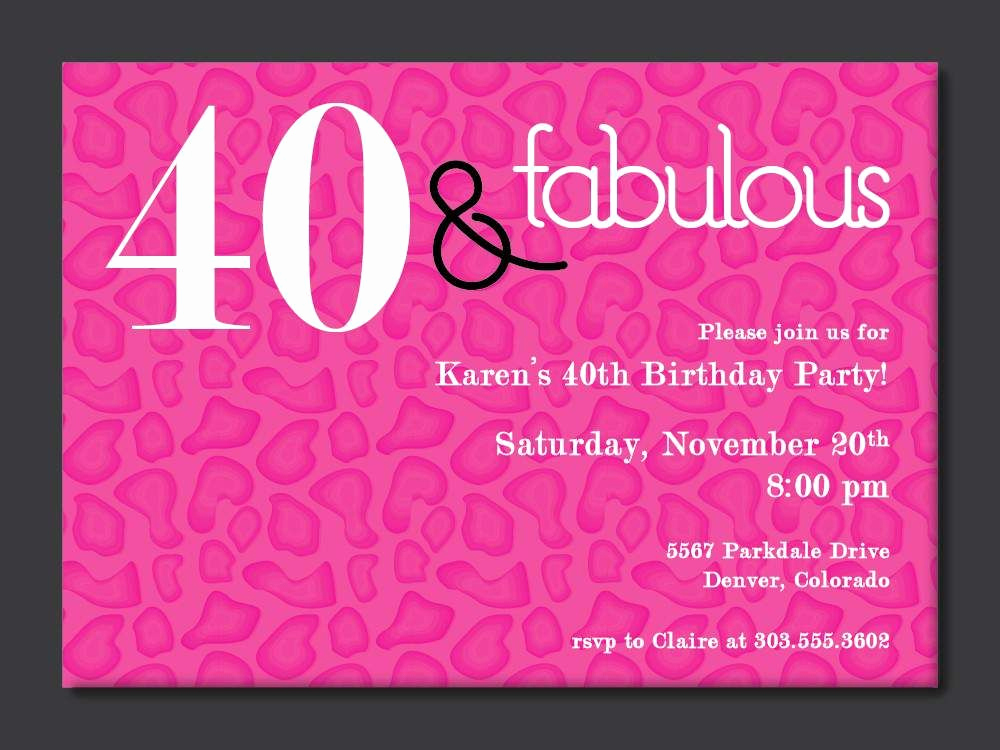 40th Birthday Party Invitation Wording Beautiful 40th Birthday Free Printable Invitation Template