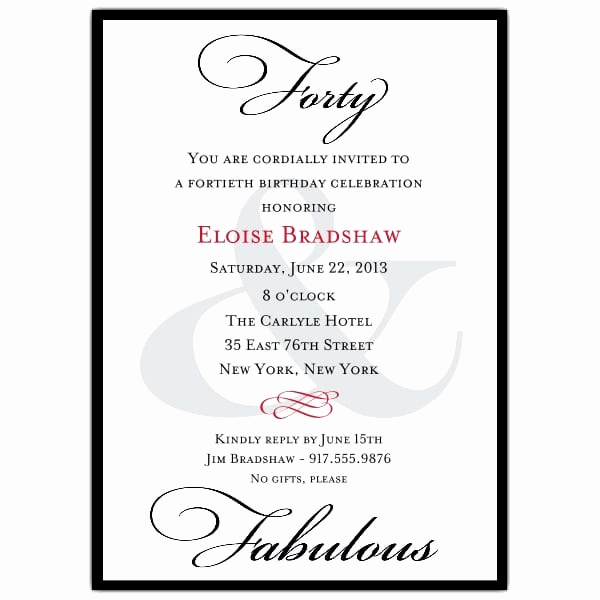 40th Birthday Party Invitation Wording Beautiful 40th Birthday Invitation Template Word