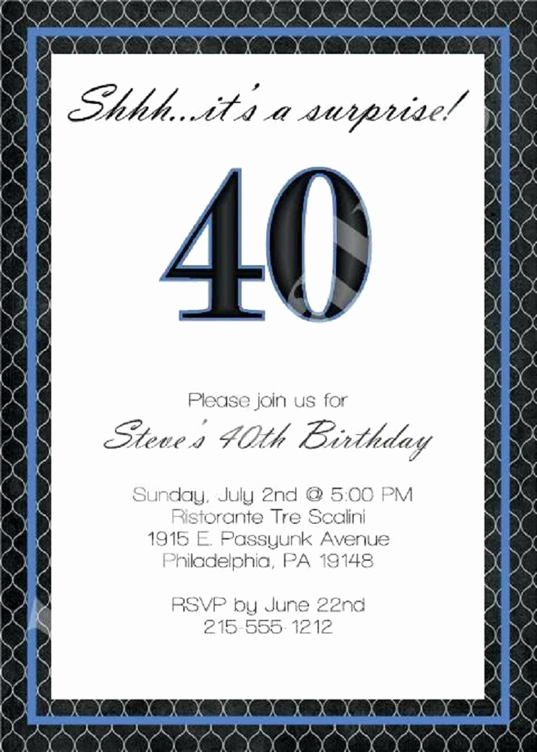 40th Birthday Party Invitation Wording Elegant 40th Birthday Invitation Wording for Men