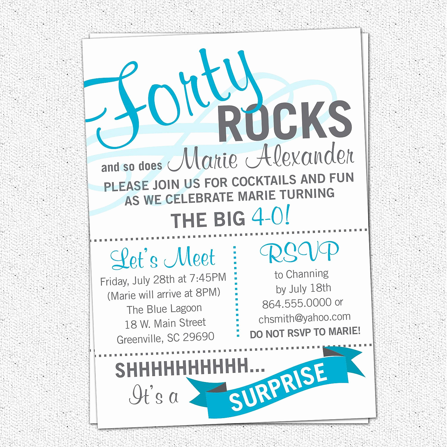 40th Birthday Party Invitation Wording Unique Printable forty Rocks Birthday Party Bash Invitation