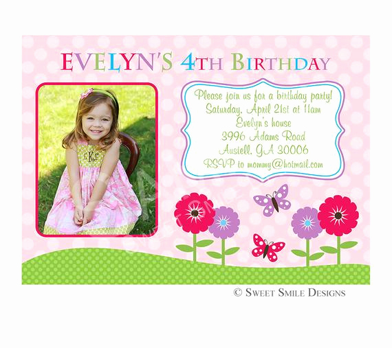 4th Birthday Invitation Wording Awesome Items Similar to Birthday Invitation Printable