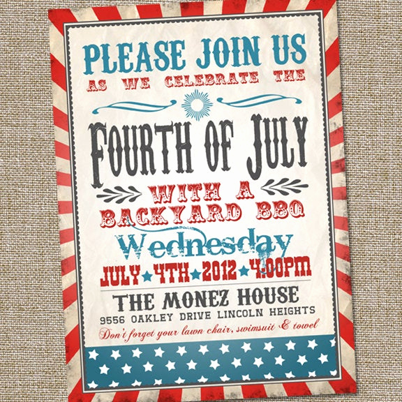 4th Birthday Invitation Wording Beautiful Fourth Of July Invitation Vintage Fourth Of July Invitation