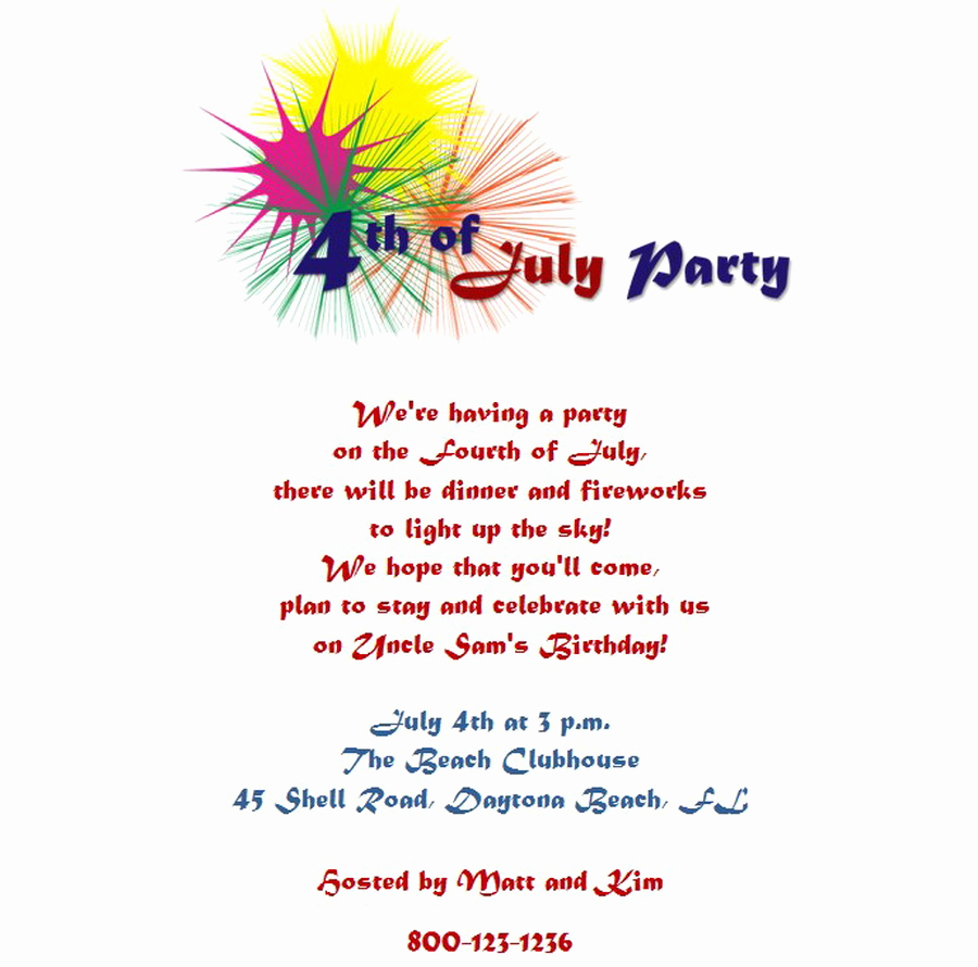 4th Birthday Invitation Wording Best Of 4th Of July Party Invitations 5 Wording