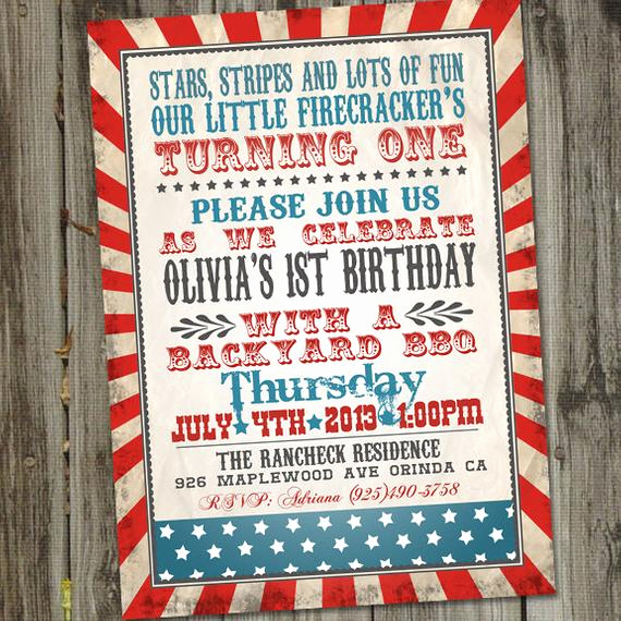 4th Birthday Invitation Wording Best Of Little Firecracker Fourth Of July Birthday Invitation 4th Of