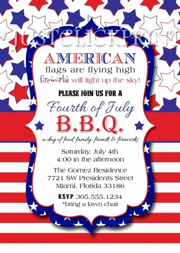 4th Birthday Invitation Wording Elegant 4th Of July Bbq Red White Blue Fourth Of July Printable
