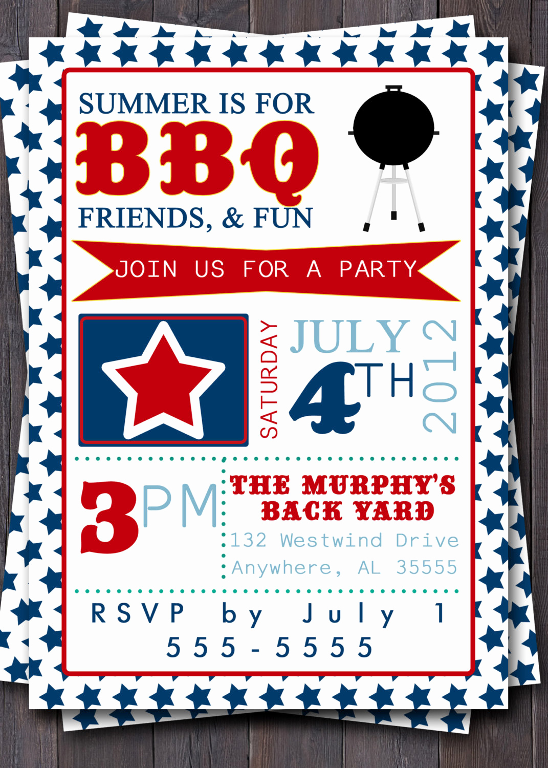 4th Birthday Invitation Wording Elegant 4th Of July Typography Invitation Stars by