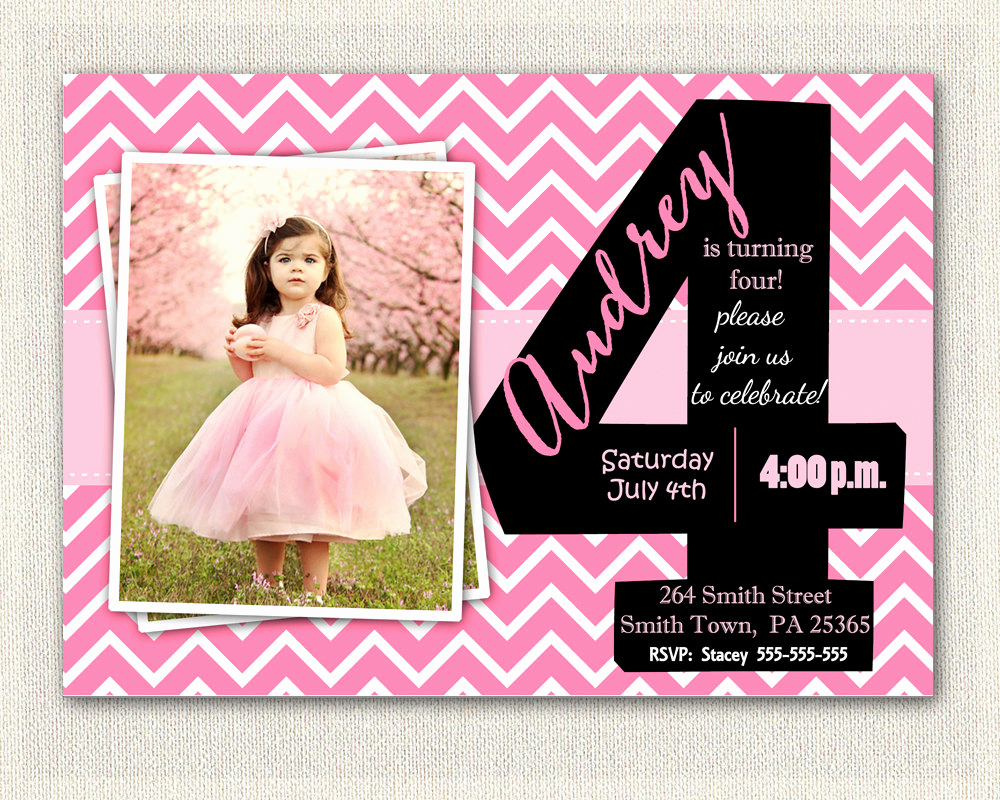 4th Birthday Invitation Wording Elegant Girls 4th Birthday Invitations Printable Fourth Birthday