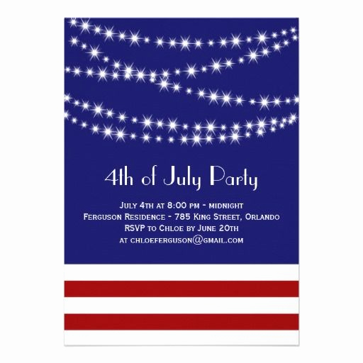 4th Birthday Invitation Wording Elegant Twinkle Lights 4th Of July Party Invitation