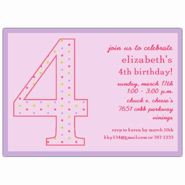 4th Birthday Invitation Wording Lovely 4th Birthday Girl Dots Invitations