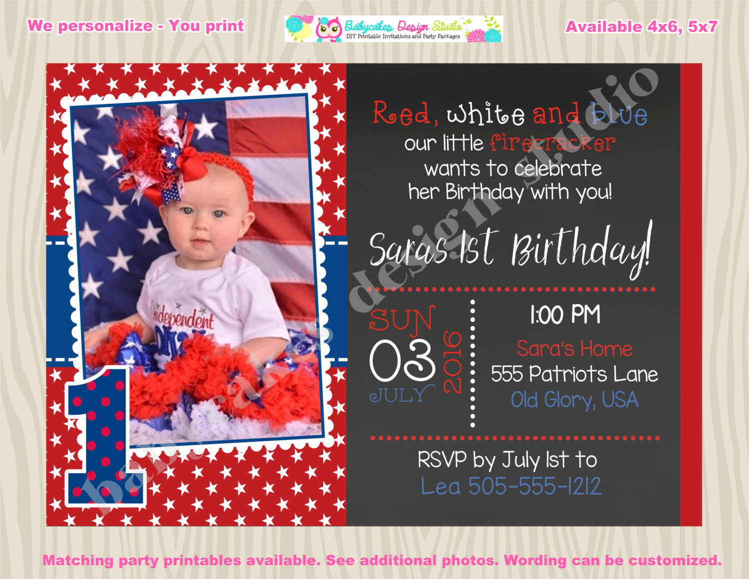 4th Birthday Invitation Wording Luxury 4th Of July Birthday Invitation Invite July 4th Birthday