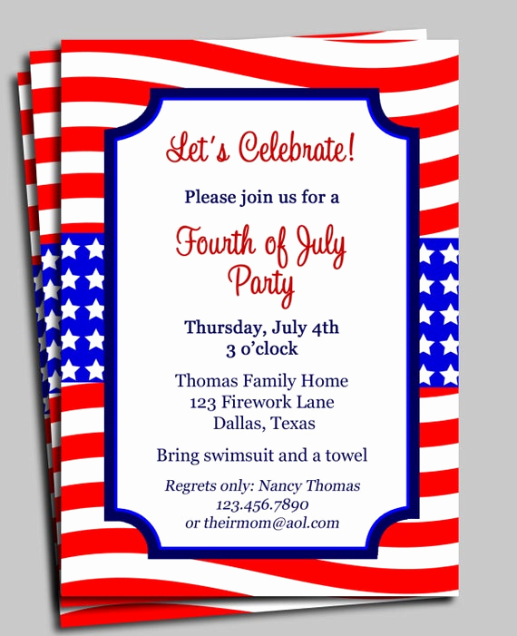4th Birthday Invitation Wording Luxury Fourth Of July Invitation Printable Celebration Birthday