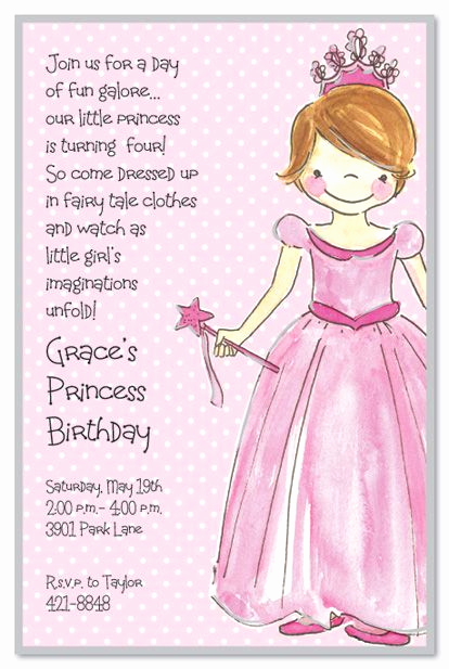4th Birthday Invitation Wording Luxury Princess Girl Birthday Party Invitations