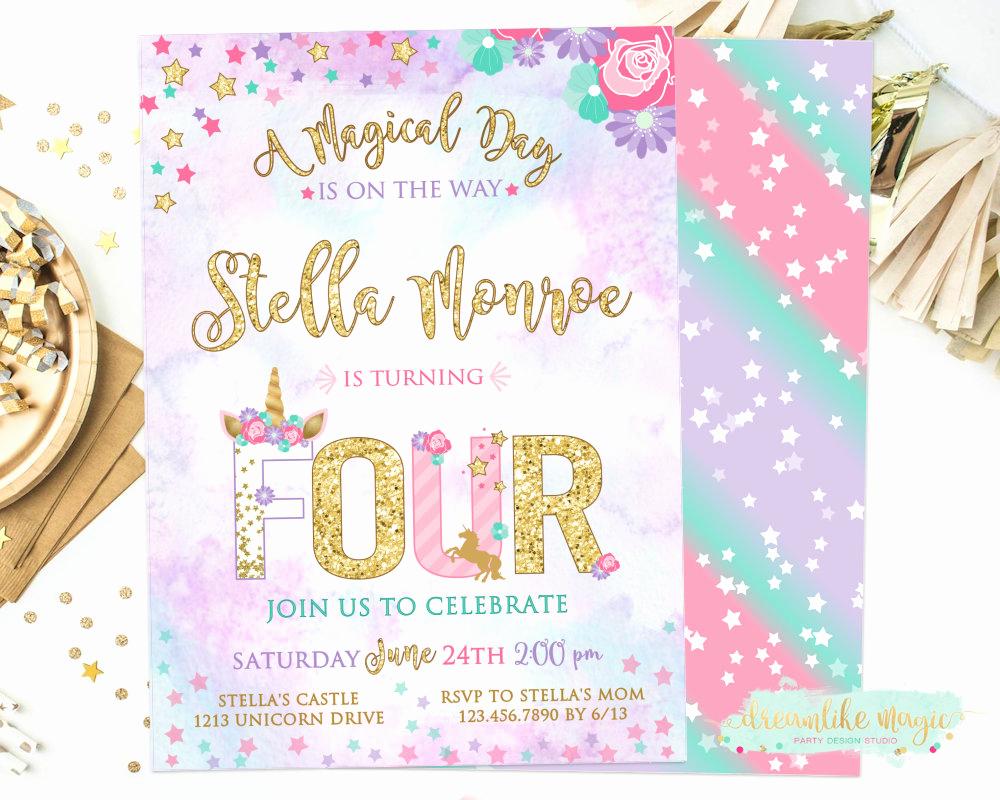 4th Birthday Invitation Wording Luxury Unicorn 4th Birthday Invite Four Unicorn Fourth Birthday