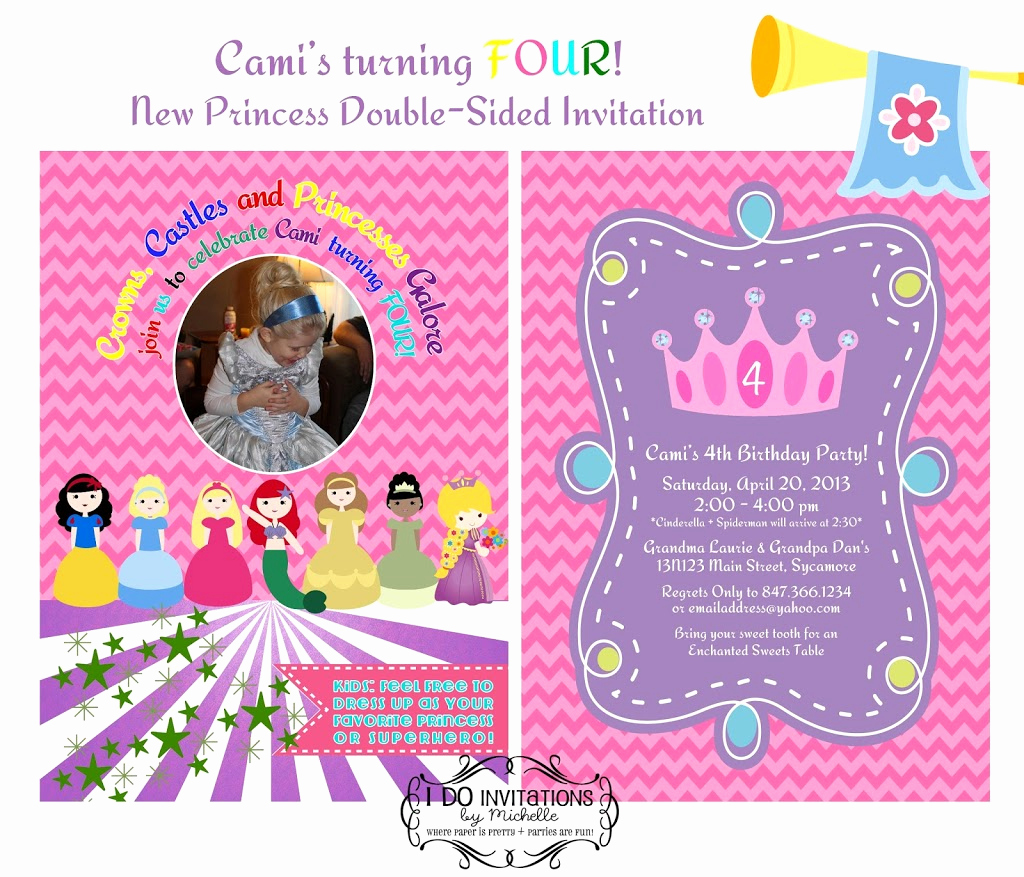 4th Birthday Invitation Wording New Cami S 4th Birthday Party Invitation Disney Princess