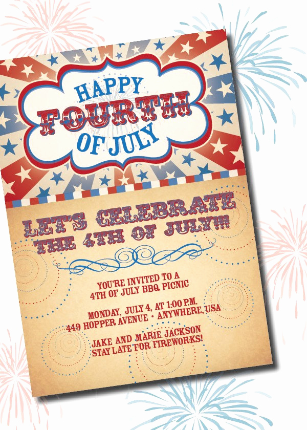 4th Birthday Invitation Wording New Diy Printable Americana Fourth Of July Birthday Invitation