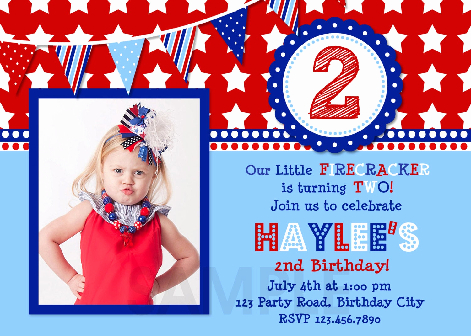 4th Birthday Invitation Wording Unique 4th Of July Birthday Invitation Red White and Blue Birthday