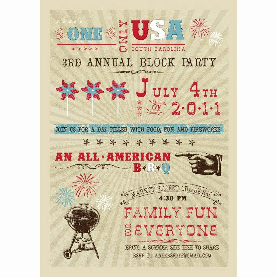 4th Birthday Invitation Wording Unique All American 4th Of July Bbq Party Printable Invitation