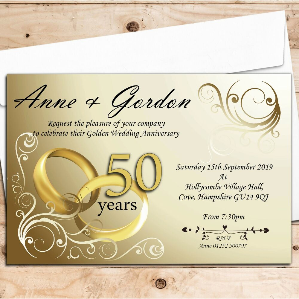 50th Anniversary Invitation Ideas Elegant 50 Personalised Golden 50th Wedding Anniversary