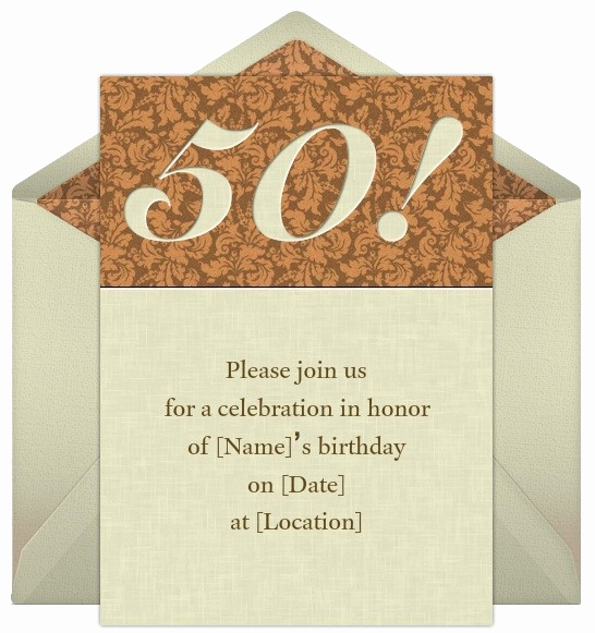 50th Anniversary Invitation Ideas Elegant 50th Birthday Invitation