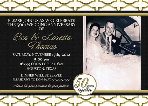 50th Anniversary Invitation Ideas Inspirational Custom Gold Black and Ivory 50th Anniversary Invitation