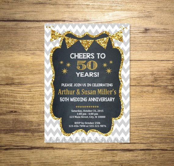 50th Anniversary Invitation Ideas Lovely Golden Wedding Anniversary Invitation Chalkboard by