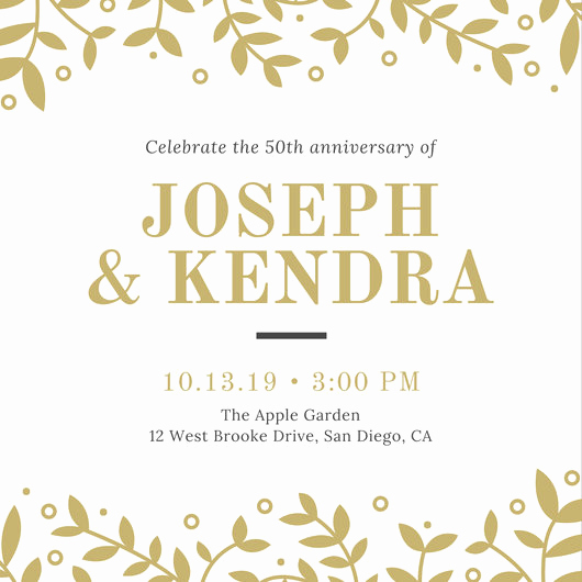 50th Anniversary Invitation Template Beautiful Design Templates Canva